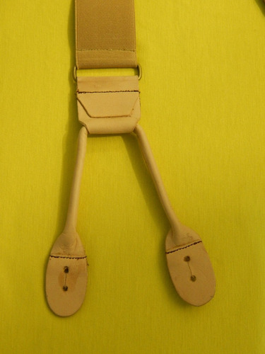 tirador pantalón suspenders tiras ojal beig cuero natur 4cm