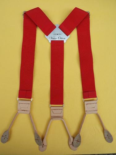 tirador pantalón suspenders tiras ojal rojo cuero natur 4cm