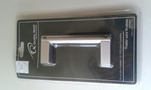 tirador para muebles quality metal satinado 4.5x9.6x 11.cm.
