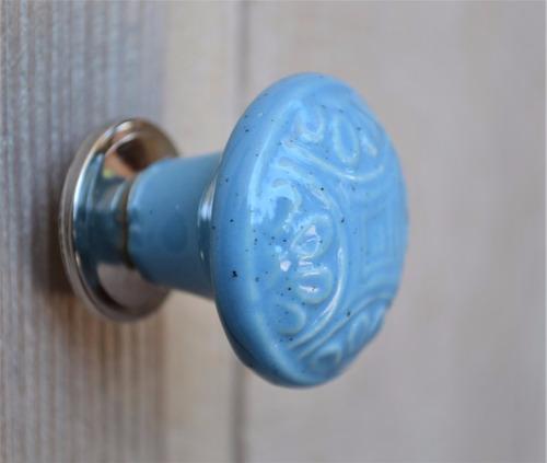 tirador perilla p/mueble cerámica turquesa dibujo en relieve
