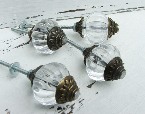 tirador p/mueble estilo antiguo esfera transparente 3cm
