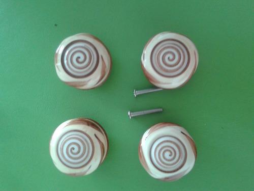 tiradores manijas de ceramica  set x4 para muebles excelente