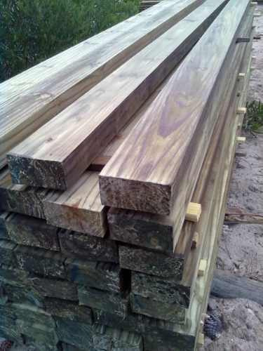 tirante de 6x2 pulg x 3,30 mts madera tratada (curada) cca