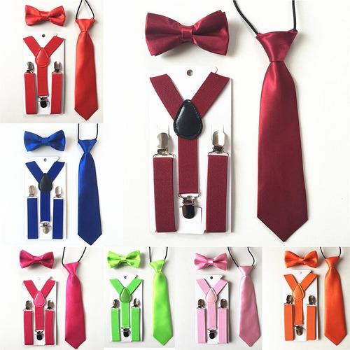 tirantes con moño y corbata para niños. varios colores