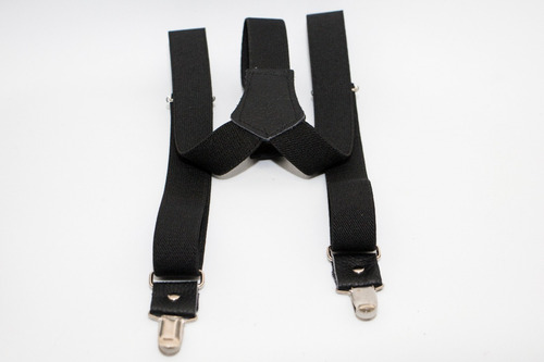tirantes negros para caballero con aplicaciones de piel.