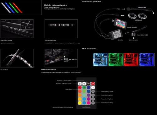 tiras de leds deepcool rgb350 para gabinete modding aura