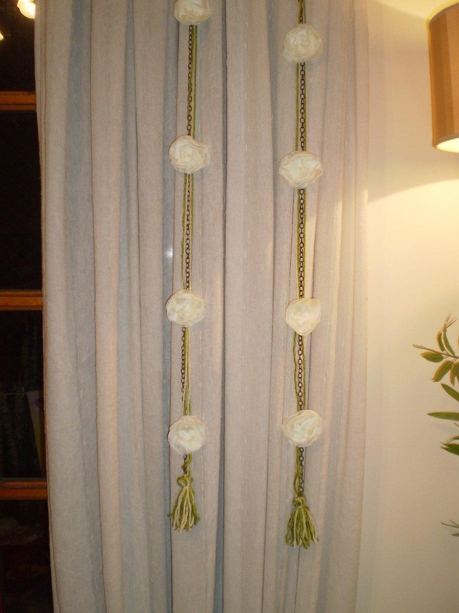Tiras Guirnaldas Adornos Cortinas Con Flores De Tela 19999 En - Adornos-para-cortinas