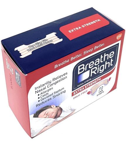 tiras nasales sin ronquidos breathe right / 72 unidades