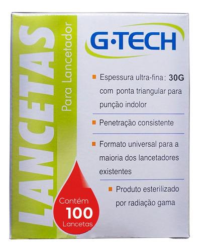 tiras reagentes de glicose g-tech free 100un + lancetas 100u