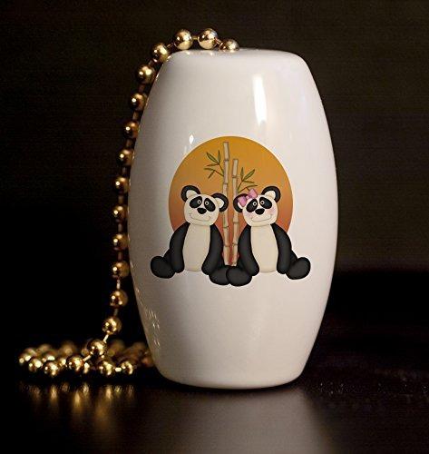 tire de bambú sun pandas porcelana ventilador / luz