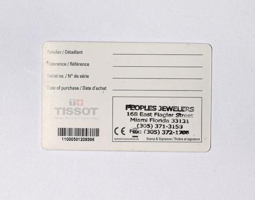 tissot cartão de garantia + manual e porta relógio em veludo