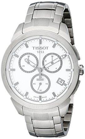 tissot hombres de titanio t cuarzo esfera blanca reloj cro