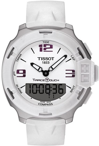 tissot t-race touch analog digital white mens t0814201701700