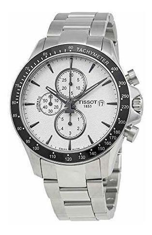 tissot v8 cronografo esfera plateada reloj para hombre t106.