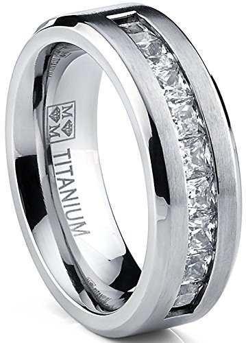 titanio hombres anillo de compromiso de la boda con 9