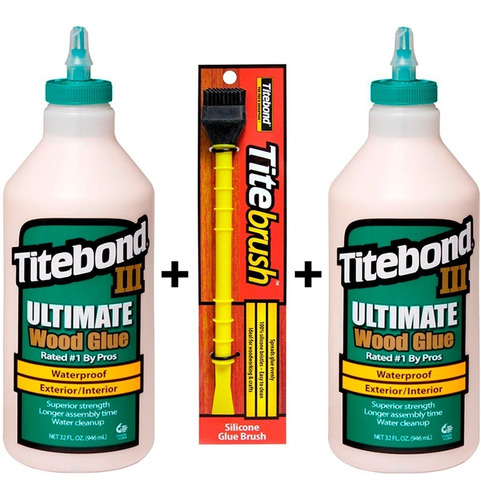 titebond 3 cola p/ madeira kit c/ 2kg  + pincel tite brush