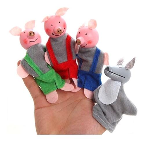 titeteres de dedos cuentos los tres chanchitos. titeres mano