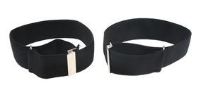 2 pares de metal con Manga titulares de ligas Negro y Dorado Elástico Camisa Bandas de brazo