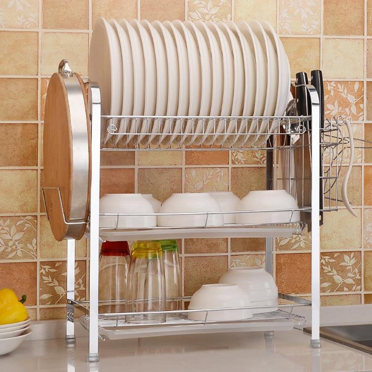 2 niveles Plato Escurridor de almacenamiento de cocina de acero inoxidable placas de Cromo Bandeja de goteo NUEVO