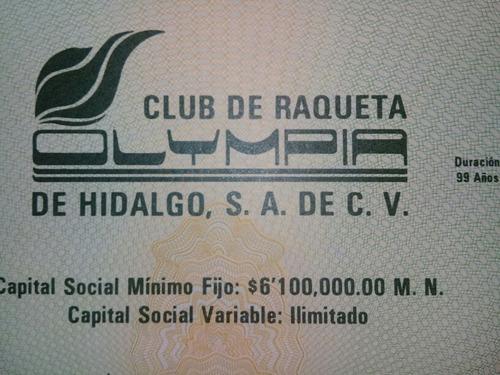 título acción club raqueta olympia pachuca hidalgo 2 locker