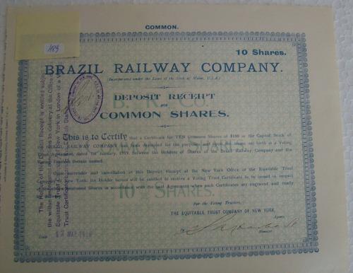 titulo antigo brazil railway company 10 shares de 1912