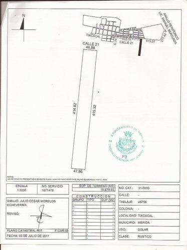 tixcacal remato terreno industrial de 19,763.93 m2