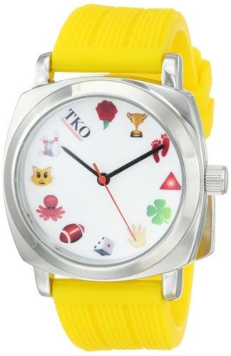 tko cool silver case yellow rubber fun emoji icon reloj de c