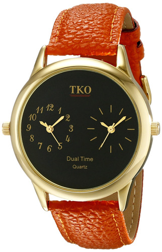 tko dual tiempo zona reloj de oro correa de piel naranja ide