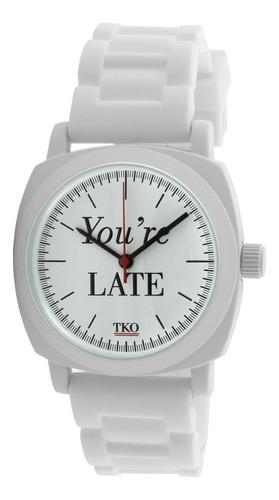 tko  llegas tarde  hule de color blanco reloj