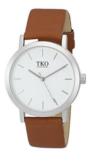 tko orlogi reloj de cuarzo marrón con pantalla analógica tk6