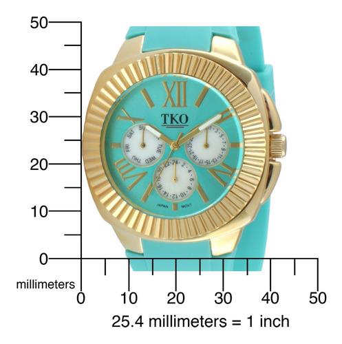 tko reloj de correa de hule de oro-tone multi-funci