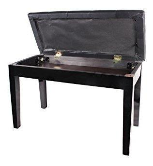 tms black ebony wood leather piano bench acolchado double du