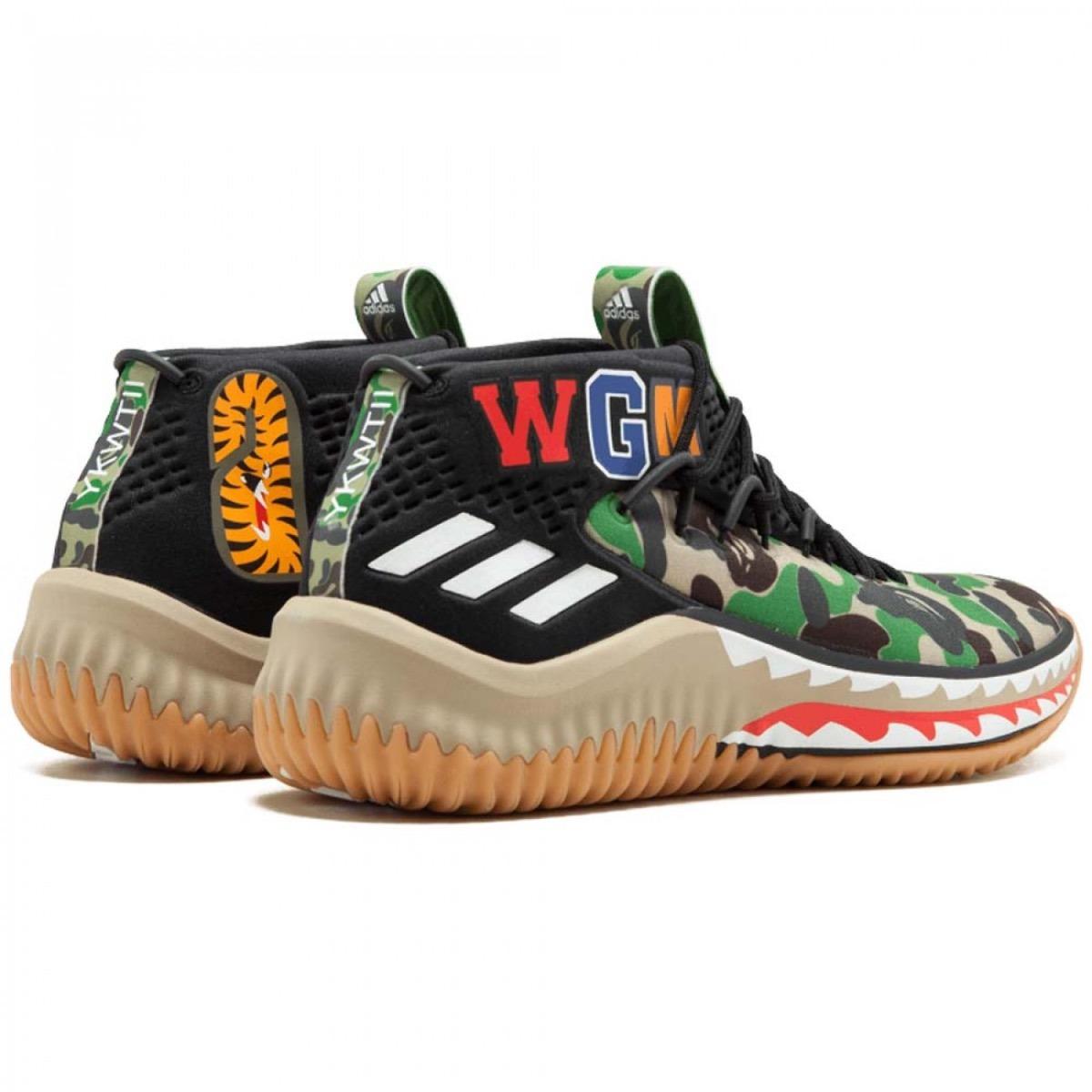 buy popular f655e 9882e Tênis adidas Dame 4 Bape Green Camo - Sneaker Damian Lillard