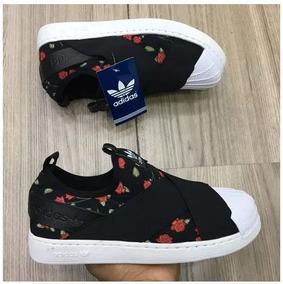 0b78e371e0f Tênis adidas Super Star Elastico Slip On Flores Aproveite!! R  209 99