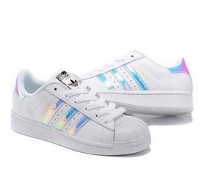 7679c56ff2 Tênis Adidas Original Branco Feminino Holográfico - Calçados