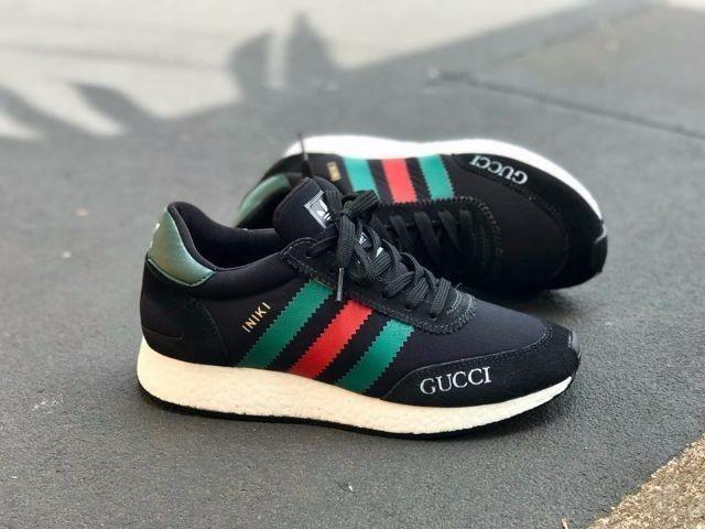 d823f460547c2 Tênis adidas Iniki X Gucci Preto Original Promoção - R$ 370,00 em ...