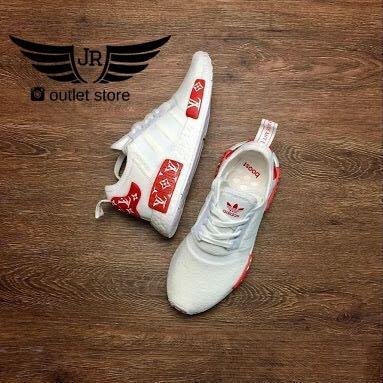 tênis adidas nmd triple black r1 boost pk originals + brinde