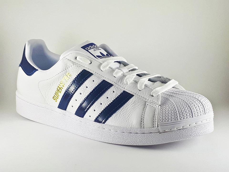 tênis adidas originals superstar branco e azul masculino. Carregando zoom. b92b27a6b2d22