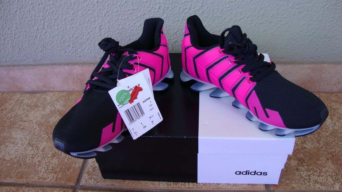 adidas springblade preto com cadarço rosa