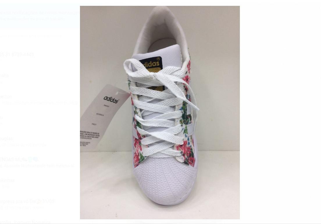 3bf42296df7 tênis adidas super star floral mujer novo na caixa. Carregando zoom.