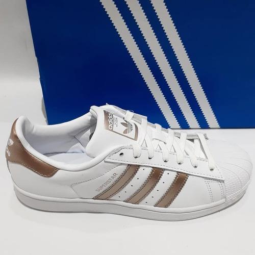 tênis adidas superstar branco listrado metalic gold sneakers em couro original