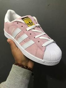 1e44e77b03b Tênis adidas Superstar Camurça Rosa Branco + Envio Grátis