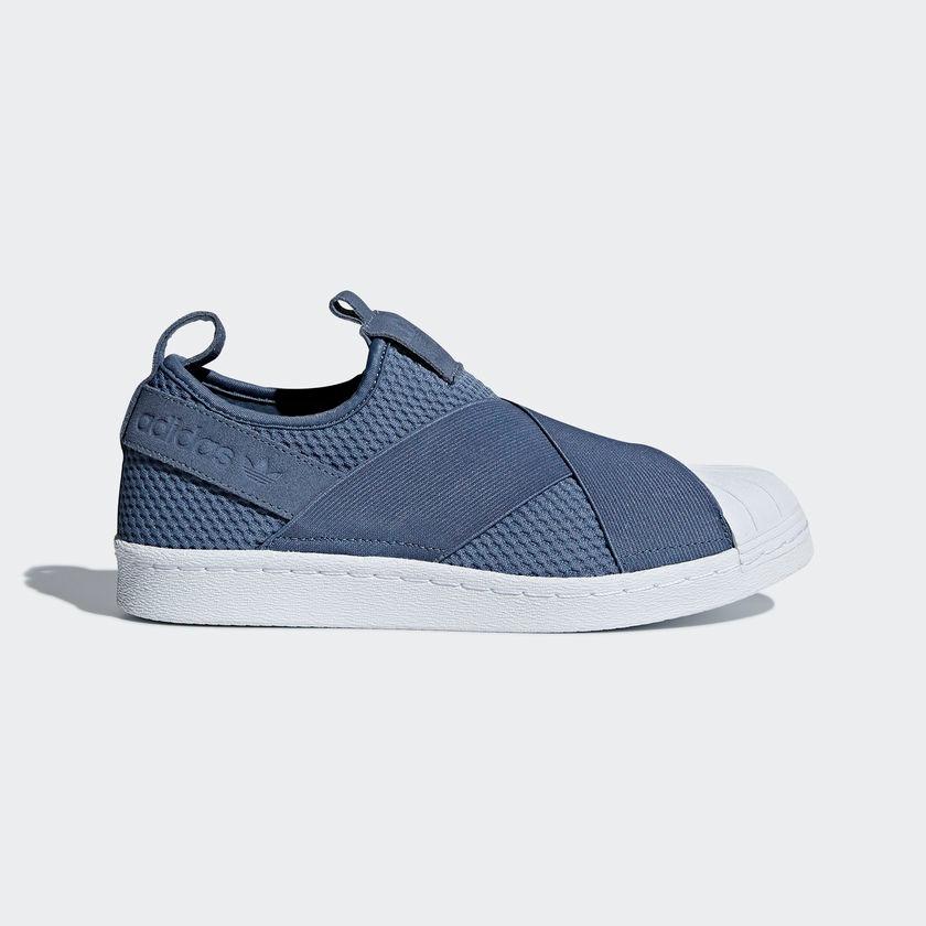 tênis adidas superstar slip-on feminino original azul aço. Carregando zoom. cc906efea3f7a