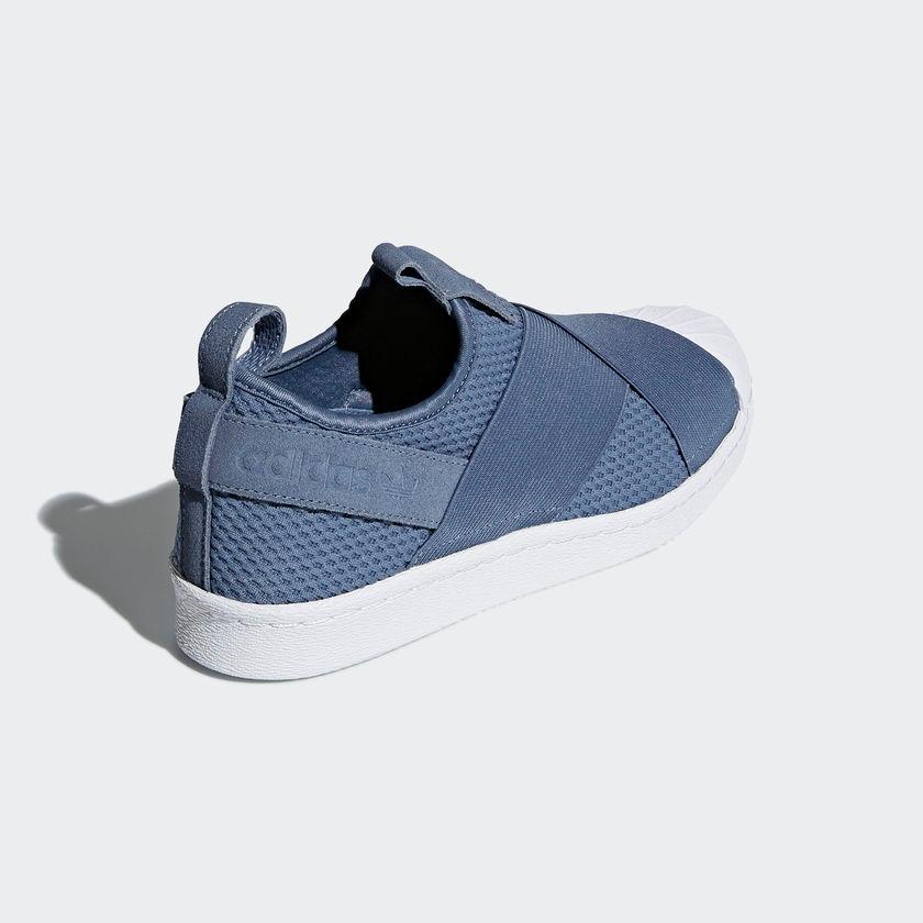 e89fd3d675f tênis adidas superstar slip-on feminino original azul steel. Carregando zoom .