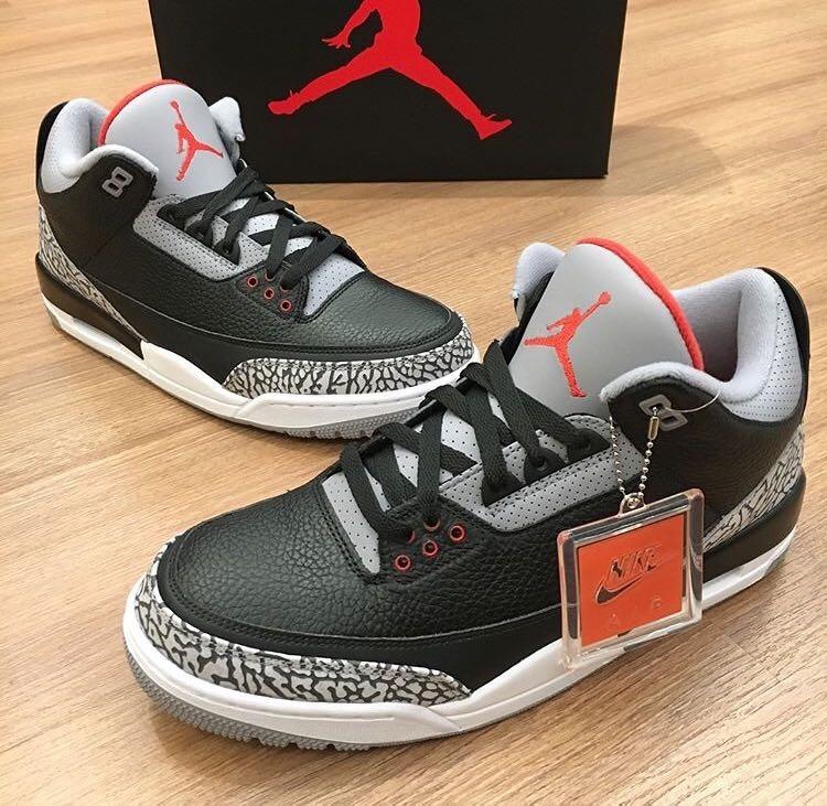 finest selection b36ab f3aeb Tênis Air Jordan 3 Retro Og Black Cement - Nike Jordan Bred