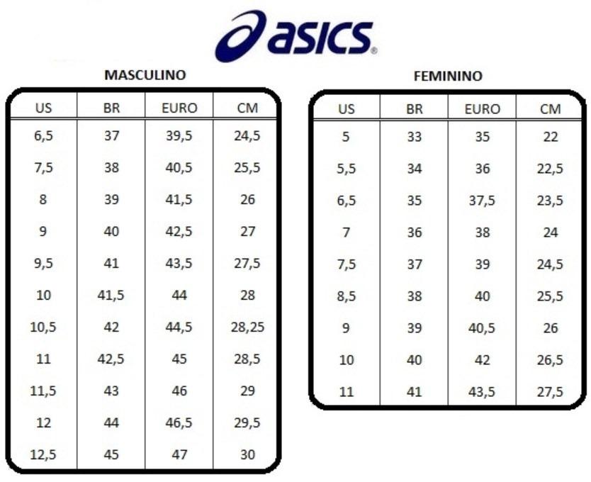 Resultado de imagem para tabela medida asics