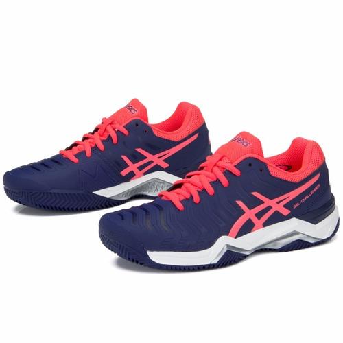tênis asics gel challenger 11 clay indigo blue pink saibro w
