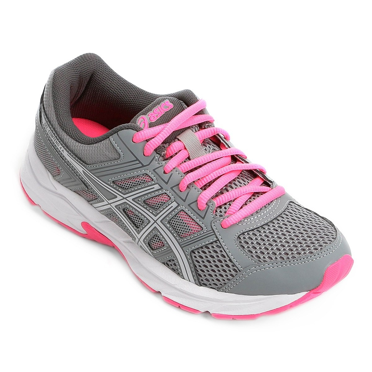 f95a9150d87 tênis asics gel contend 4 cinza prata rosa feminino. Carregando zoom.