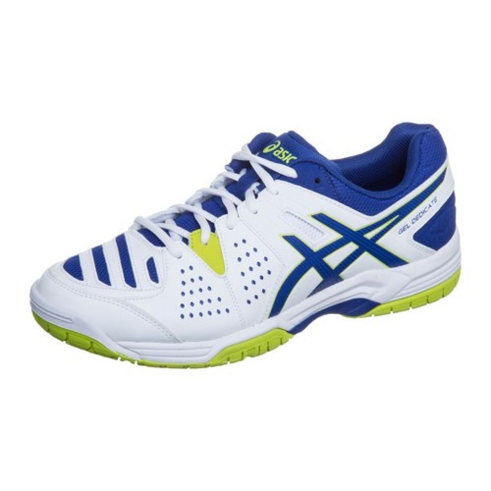 a48993f25d067 tênis asics gel dedicate 4 - branco com azul e amarelo. Carregando zoom.