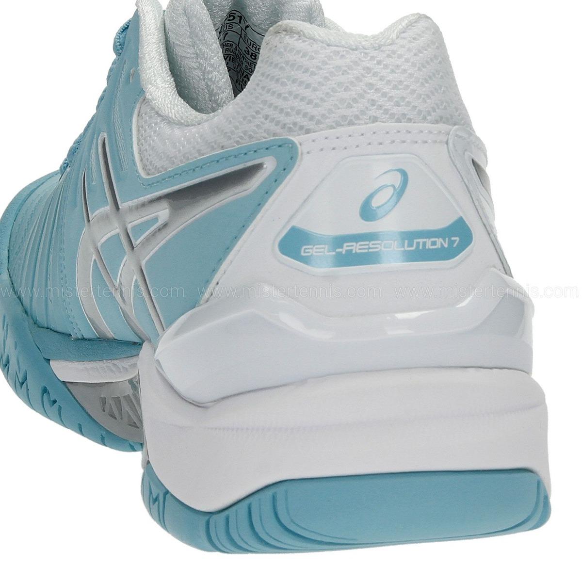 e58a6d19cb5a9 tênis asics gel resolution 7 azul claro prata e branco. Carregando zoom.